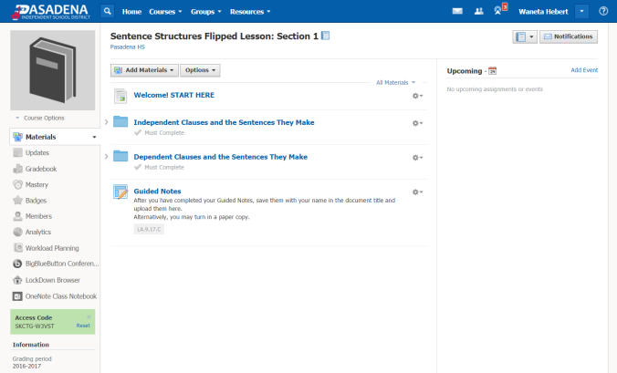 Schoology Sentence Structure Flipped Lesson