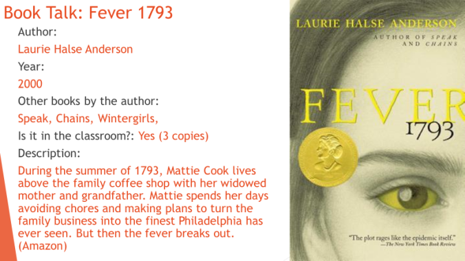 Fever 1793 Book Talk